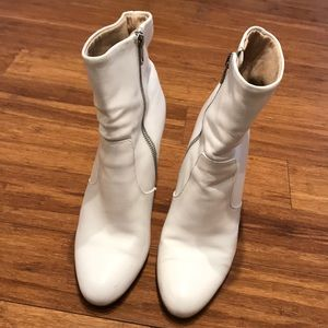 White leather boot heels